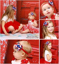 """4"""" Big Sister & Mini 2.5"""" Little Sister 4th of July Stacked Hair Bows Red White Blue"""