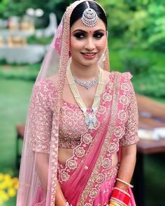 Brides Who Nailed Their Look With Diamond Jewellery Indian Bridal Outfits, Indian Wedding Jewelry, Bridal Jewellery, Pink Lehenga, Bridal Lehenga, Bridal Games, Bridal Makeup Looks, Bridal Blouse Designs, Bride Look