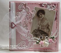 Card by DT member Anja with Creatables Anja's Border Elegant and Anja's Decorative Element by Marianne Design Shabby Chic Karten, Shabby Chic Cards, Marianne Design Cards, Paper Crafts, Diy Crafts, Embossed Cards, 3d Cards, Die Cut Cards, Mothers Day Cards