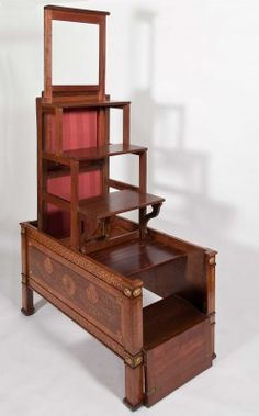 rare Chippedale Library Steps at Harewood House, mahogany with ormolu-mounted rosewood and marquetry of various exotic woods ..  18th century English metamorphic table that converts to library steps/ladder