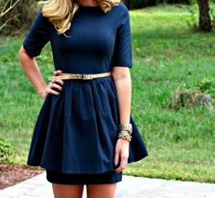 Navy Dress with Gold Glitter Belt