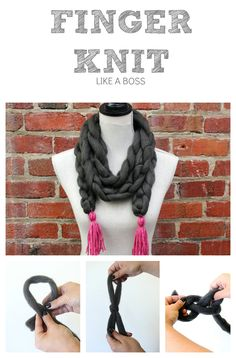 HOW TO Finger Knit a Scarf for Winter fashion. Knitting, yarn, scarf diy, fun scarves, cozy scarves.