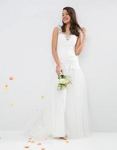 Image 4 ofASOS BRIDAL Princess Lace Bodice Mesh Skirt Maxi Dress