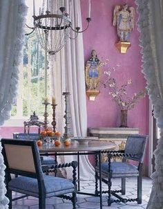 girly pink dining room
