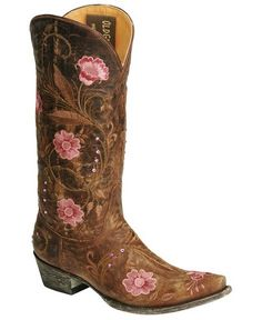 """wedding shoes? I'm having old fashioned or western style boots either way. My idea is have a boot with some blue, or like this one, have a blue flower added for the """"something blue"""":) Some day <3"""