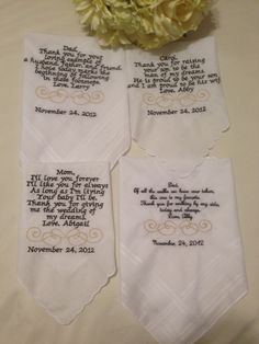 Set of four Personalized WEDDING HANKIE'S Mother & Father of the Bride Gifts Hankerchief - Hankies. $80.00, via Etsy.