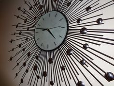 Your place to buy and sell all things handmade Black Metal, Black Silver, Cool Clocks, Retro Clock, Statement Wall, Science Projects, Frosted Glass, Vintage Designs, Mid-century Modern