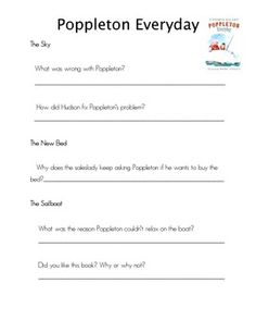 Poppleton Everyday Comprehension Questions