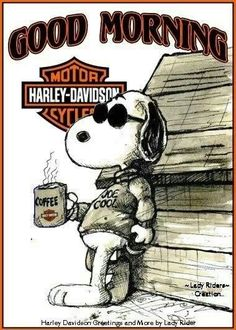 Harley Davidson #snoopy joe #cool Good morning #coffee