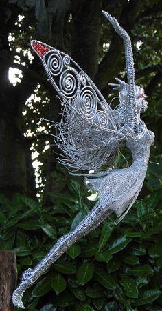 Wired to the Moon, Wire Fairies, Wire Sculptures, Unique, Tonya Clifford, Ireland, Garden, design