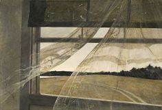 """Wyeth saw 'Wind from the Sea', for example, as a symbol for Christina Olson–the subject of 'Christina's World', who suffered from polio. He was fascinated by the dichotomy of the soft lace curtains and the very rigid window frame. The rigidity was her stoicism in the face of her disability; the lace curtains were her femininity."""
