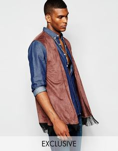 """Waistcoat by Reclaimed Vintage Soft faux-suede Contains stretch for comfort Open front Fringed hem Regular fit - true to size Machine wash 86% Polyester, 14% Elastane Our model wears size Medium and is 188cm/6'2"""" tall Exclusive to ASOS"""
