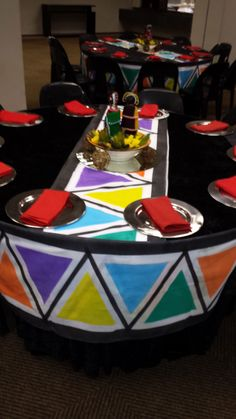 Ndebele themed table with printed table surrounds