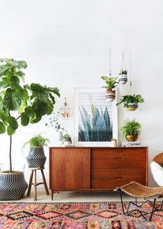 Layered plants in a space make a cozy nook. We love the eclectic look with a retro feel!