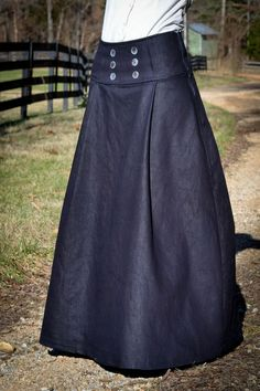 DIY Tutorial on how to make this denim sailor inspire pleated long skirt with buttoned Front. - Eager Hands: |~ Long Sailor Skirt