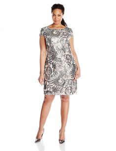 Plus-Size Cap Sleeve Sequin Chiffon Dress by Adrianna Papell