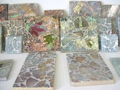 Ellen Blakely tempered glass mosaic tile samples in San Francisco Art Tiles, Glass Mosaic Tiles, Mosaic Art, Mosaics, Broken Glass Art, Stained Glass Patterns, Painted Stones, Acrylic Pouring, Recycled Glass