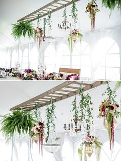 Ladder used as plant hanger @weddingchicks