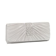 Anladia Satin Steel Crystal Diamante Evening Clutch Bag Prom ...