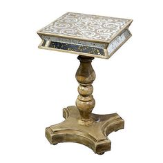 Reverse Hand Painted Mirrored Glass Accent End Table,14''Diam x 24''H.  #Handmade #Mediterranean