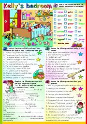English worksheet: KELLY´S BEDROOM -  PREPOSITIONS OF PLACE AND ANSWERING…