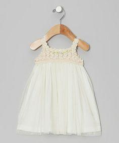 Look at this #zulilyfind! Ecru Crocheted Tulle Dress - Infant, Toddler & Girls by Victoria Kids #zulilyfinds