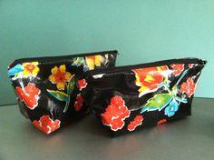 Zipper pouch cosmetic bags case oilcloth gingham oilcloth oilcloth