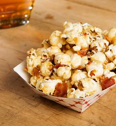 Combine crispy bacon and sweet maple syrup from Canada with popcorn for a sweet and salty snack! Also makes a great, affordable hostess gift. #ILoveMaple