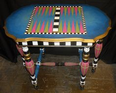 Handpainted Backgammon Table. upcycle inspriation.