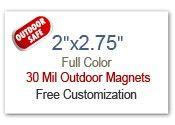 2x2.75 Square Corner Outdoor Safe Full Color Magnets