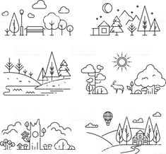 Nature landscape outline icons with tree, plants, mountains, river royalty-free nature landscape outline icons with tree plants mountains river stock vector art & more images of line art