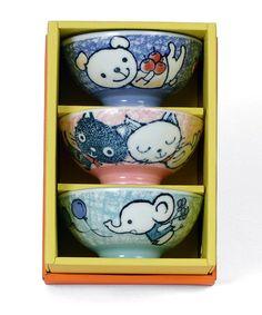 Look at this #zulilyfind! Blue & Pink Animal Bowl Set by Miya Company #zulilyfinds