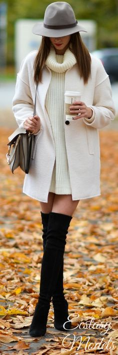 @roressclothes clothing ideas #women fashion white coat, knit sweater dress, black high heels  fall