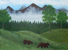 BEAR COUNTRY on CANVAS Acrylic Painting by ABrushOfLife on Etsy