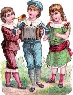 Oblaten Glanzbild scrap die cut chromo Kind child Musik music musizieren