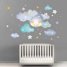 Nursery wall stickers Sleepy moon with clouds and stars in pastel colors Kids Nursery wall Decals boys sleeping moon blue birthday gift - Baby Rooom