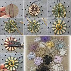 twine flower making using cardboard - easy Loom Flowers, Twine Flowers, Diy Flowers, Fabric Flowers, Paper Flowers, Twine Crafts, Yarn Crafts, Diy Crafts, Flower Tutorial