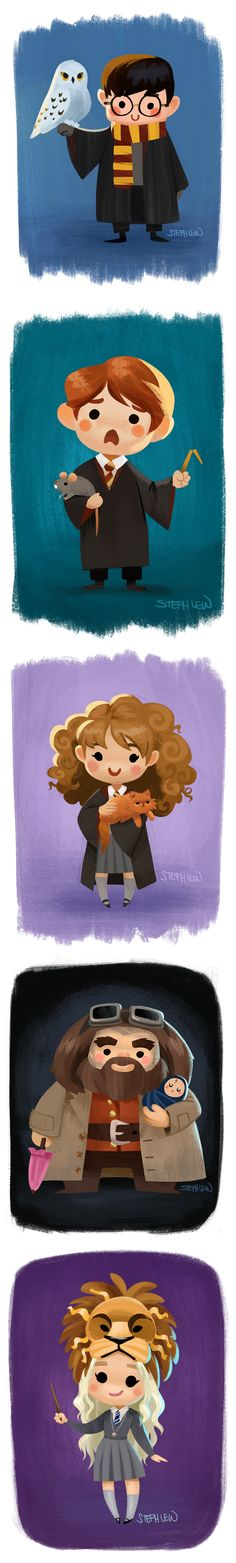 Harry and Hedwig, Ron and Scabbers, Hermione and Crookshanks, Hagrid and baby Harry, and Lion Luna Lovegood