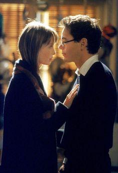 "Ally McBeal (Calista Flockart) and Larry Paul (Robert Downey Jr.) in ""Ally McBeal"""