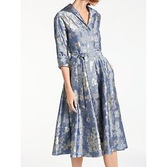 Buy Bruce by Bruce Oldfield Floral Jacquard Dress, Blue Online at johnlewis.com