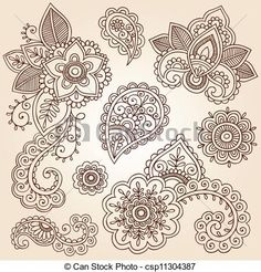 Vector - Henna Paisley Vector Flower Set - stock illustration, royalty free…