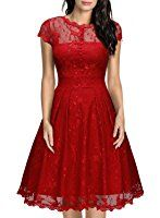 MIUSOL Women's Vintage 1950s Christmas Lace Overlay Ruffle Details A Line Skirts Front Buttons Cap Sleeve Plunge Back Double Layer Swing Wedding Party Dress