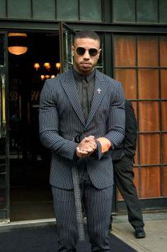 Michael B. Jordan Calvin Klein New York Michael B Jordan, Burberry Men, Gucci Men, Hermes Men, Calvin Klein, Gorgeous Black Men, Beautiful, Designer Suits For Men, Versace Men