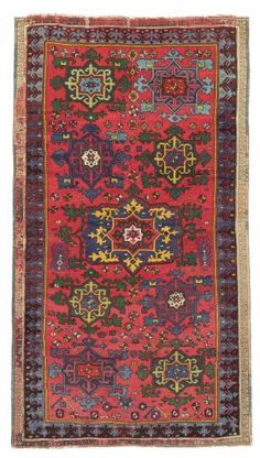 KURDISH LONG RUG  SOUTH EAST ANATOLIA OR SOUTH CAUCASUS, LATE 18TH CENTURY  Overall light wear, areas of repiling, sides and ends partly rewoven 11ft.5in. x 6ft.4in. (347cm. x 193cm.)