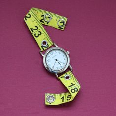 Tape Measure Watch in Yellow. $20.00, via Etsy.