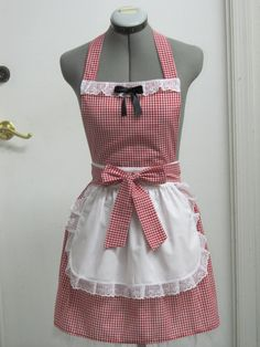 Items Similar To Little Red Riding Hood Apron  Great Costume For Halloween   Sexy Hostess Apron On Etsy
