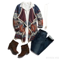 Love the fall colors and print of this sweater. Love to wear booties and jeans.