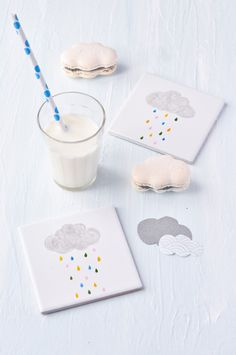 cloud macaroons and shower