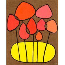 Burlap Botanical Mushrooms by Lisa DeJohn Painting Print on Wrapped Canvas