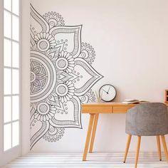 Mandala in Half Wall Sticker Decor for Home Removable Vinyl Sticker for Meditation Yoga Wall Art Living Room Bedroom Mural Decoration Stickers, Wall Decor Stickers, Vinyl Wall Decals, Modern Wall Decals, Vinyl Art, Tile Decals, Diy Decoration, Flower Wall Decals, Door Stickers